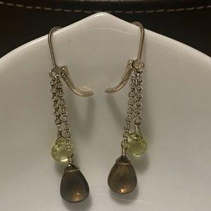 Smoky Topaz & Citrine Briolette Drop Earrings